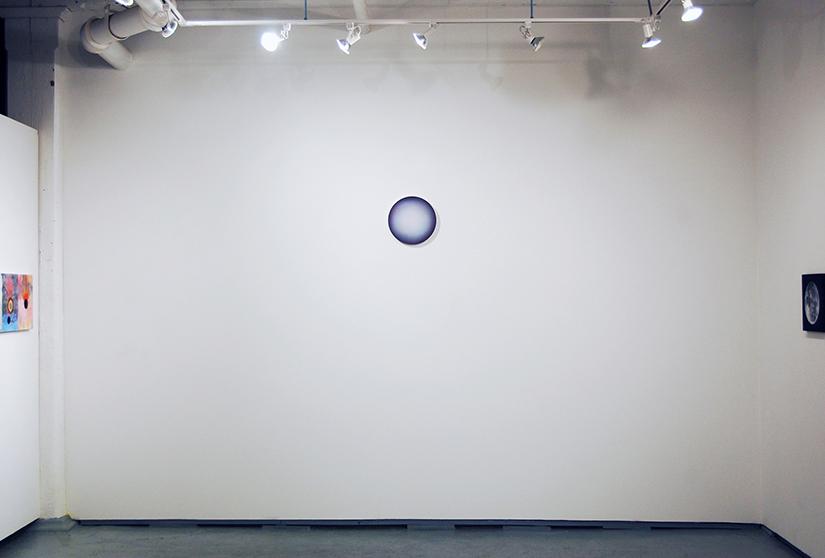 "LUC PARADIS: New Moon Rising, 2016, wood and acrylic, 12"" d Courtesy Parisian Laundry, Montreal"