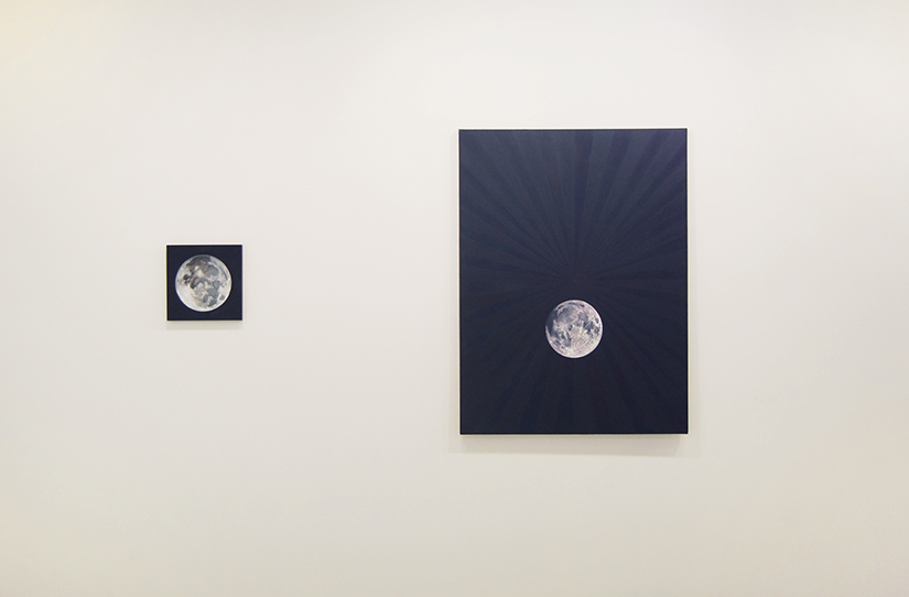 """EVEREST HALL: All Souls, 2010, Oil on panel, 12"""" x 12"""" (left); Moon, 2009 - 2010, Oil on canvas, 36"""" x 48"""" (right)"""