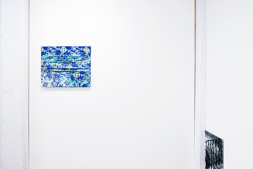 ELEANOR ALDRICH: Warped Tile. Sharpie on jersey knit, 20 x 24 inches, 2015 / ELEANOR ALDRICH: Banister. Silicone and enamel on panel, 19 x 24 inches