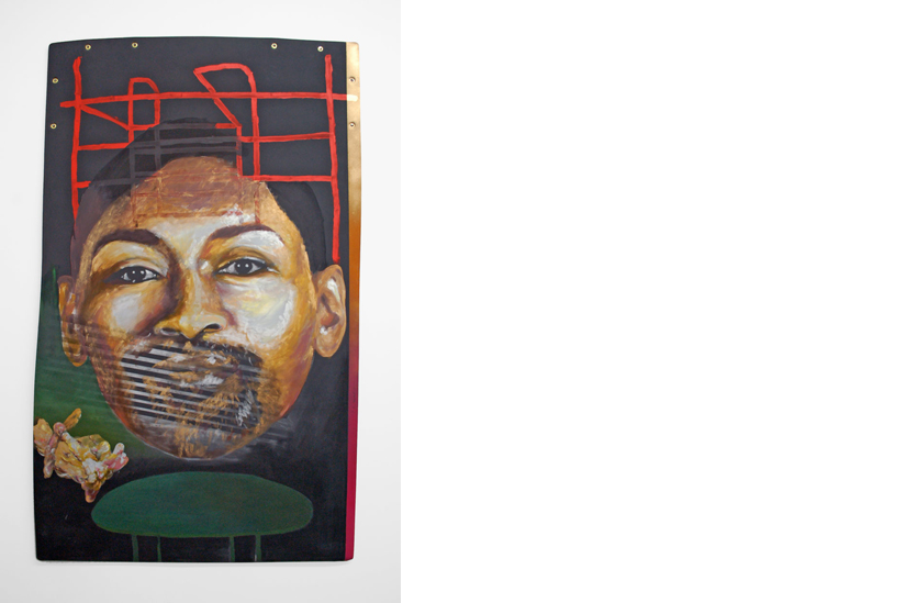 JOSHUA BIENKO: World Peace II, Oil on Neoprene mat 2013
