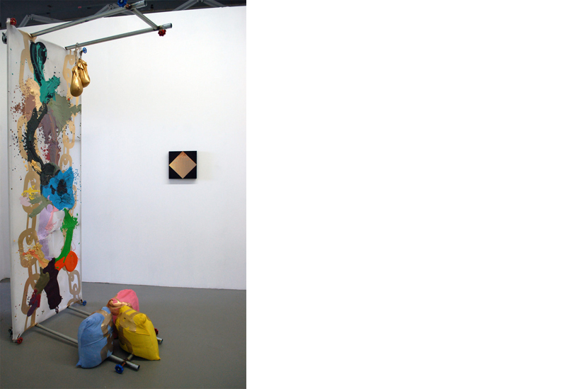 Installation view of Relay Relay Showing works by Elizaveta Meksin and Jessica Langley