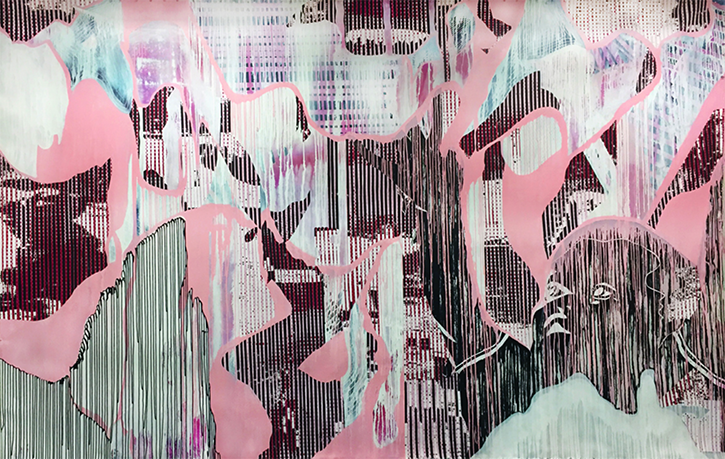 Damon Arhos, lly Olly Oxen Free,015, acrylic and paper collage on canvas, 8 ft. x 12 1⁄2 ft.
