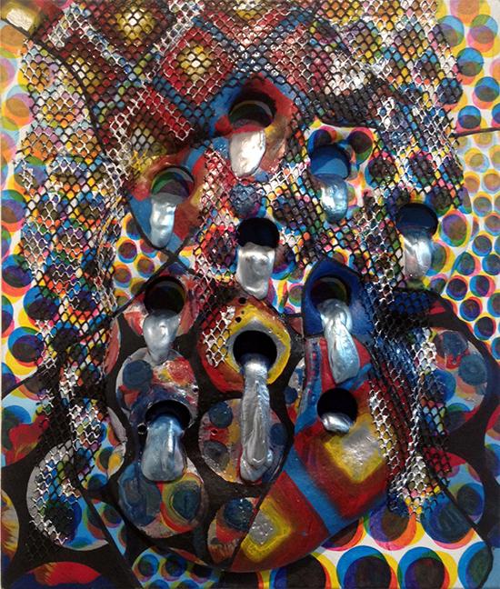"""BILL KOMOSKI: 1/9/14, polyurethane foam, hydrocal, fabric and acrylic on canvas, 24"""" x 20,"""" 2014"""