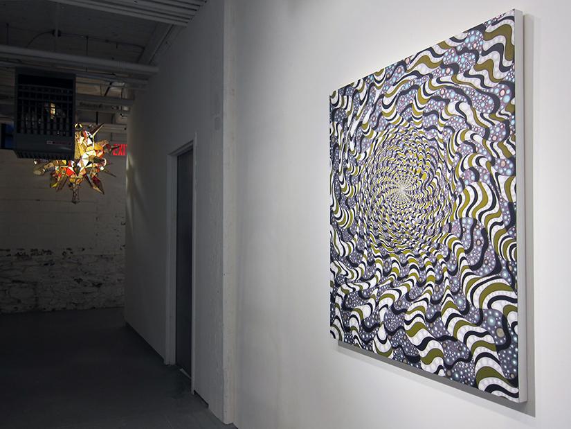 BARBARA TAKENAGE: Wavy Woozy (black stripes and green), 2011-2014, 42x36, Acrylic on wood panel