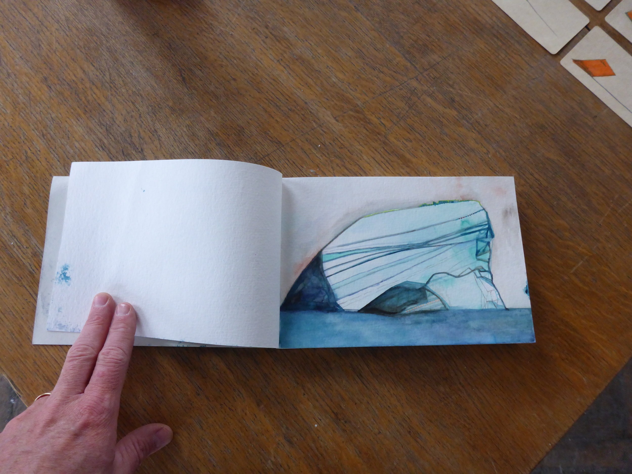 Annie Ewaskio Watercolor on paper,Pyramiden Canteen, Svalbard, Norway, July 2016