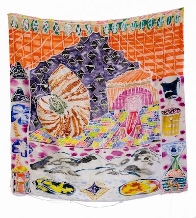 "Padma Rajendran, Original Shell, 2016, dye and resist on silk, 52 x 54"""