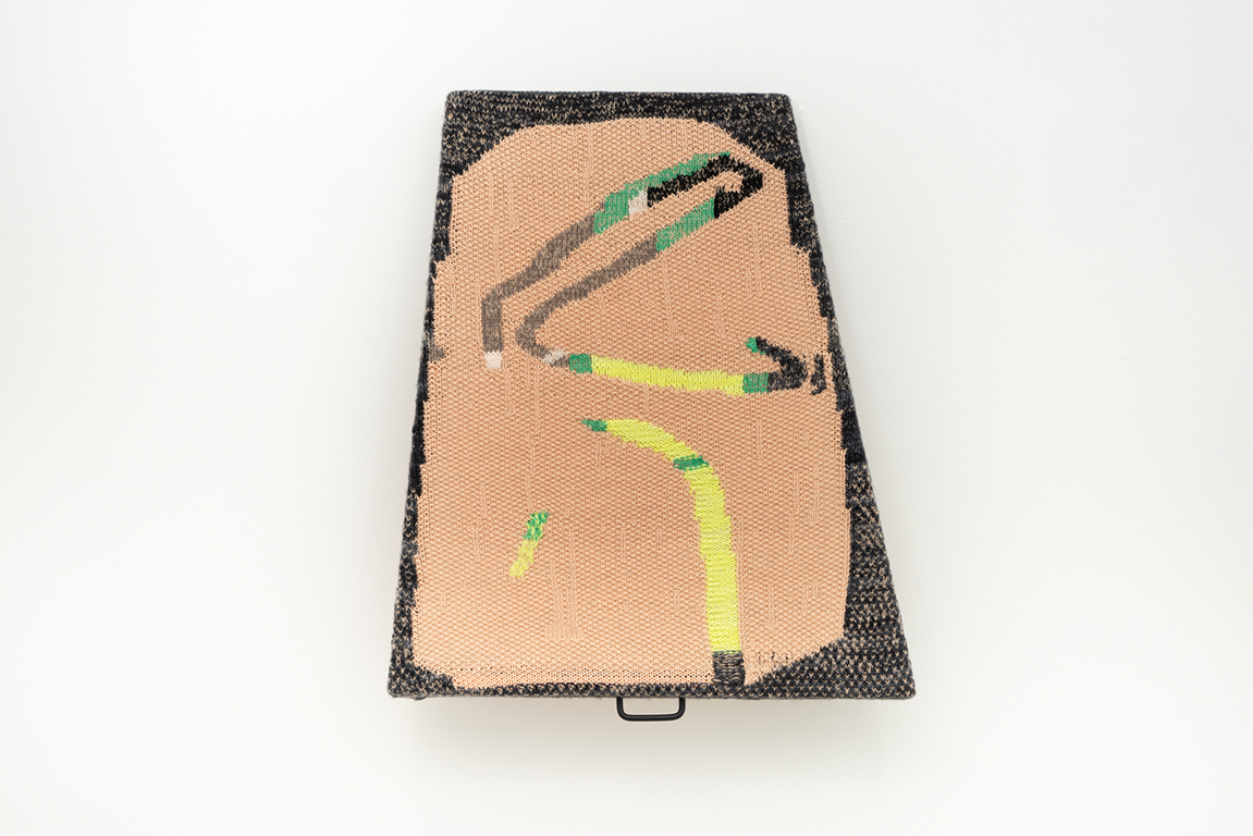 Familien Iglesias  Fun Without Skis or Dancing , 2017, Cotton and Wool, stretcher bars, tacks, hinge, handle, modeling clay 30 x 25 inches