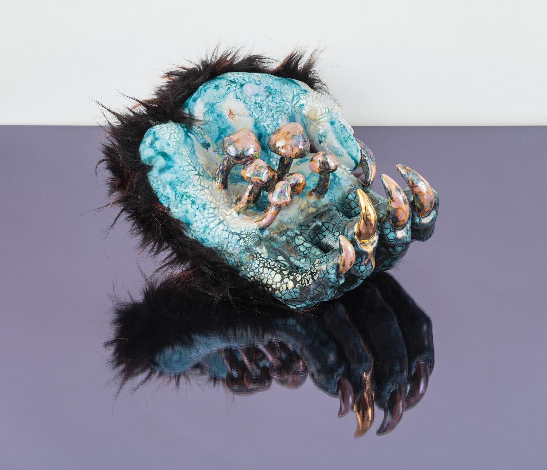 Roxanne Jackson Black Magic, Media: Ceramic, glaze, luster, faux fur, Dimensions: 10 x 6.5 x 6.5 inches, 2018
