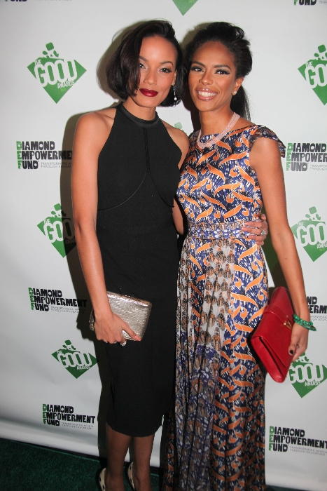 Noëlla wearing a dress by Eki Orleans, pictured with Selita Ebanks.