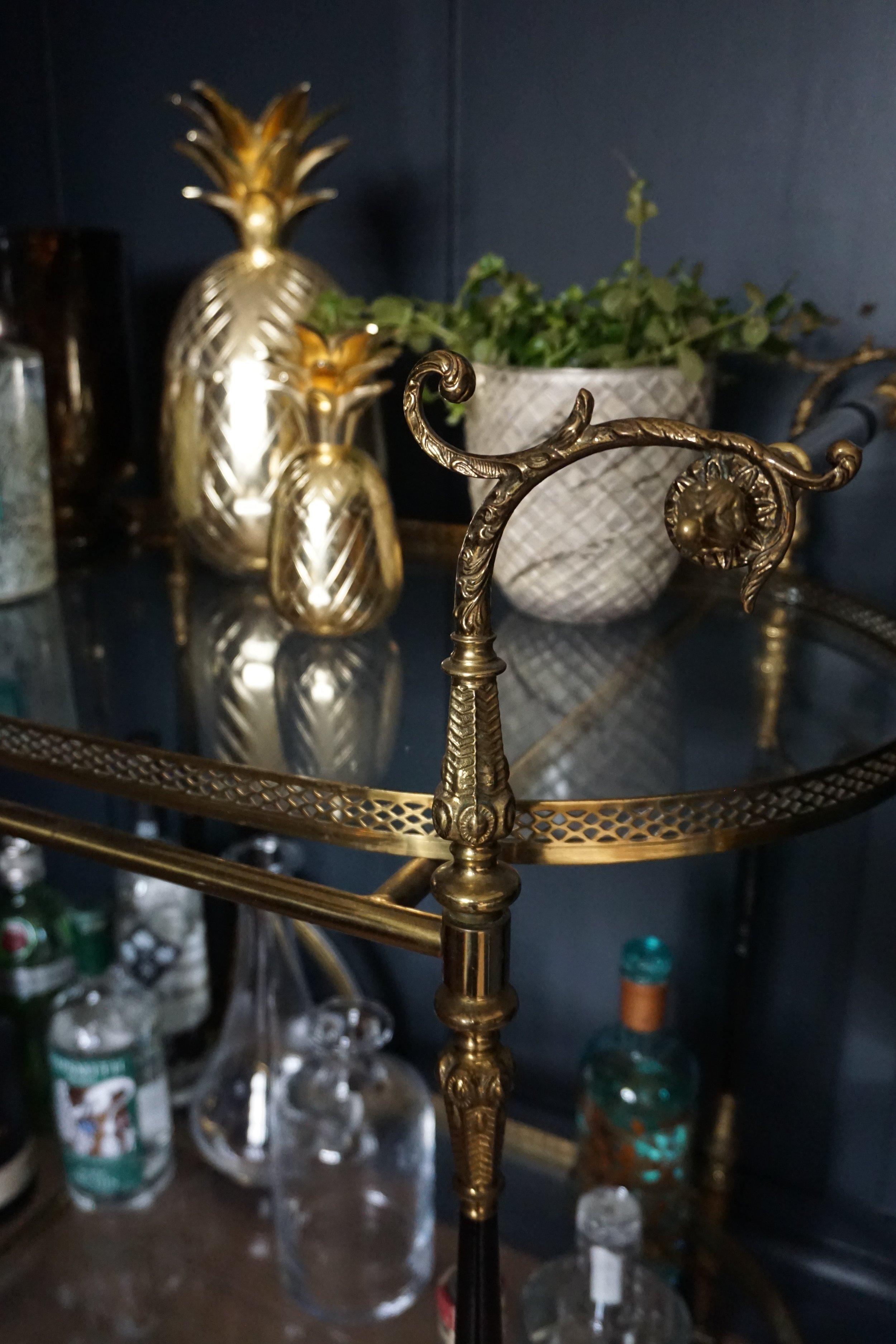 Vintage Brass Drinks Trolley