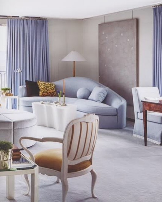 "Pastels aren't always subtle. A San Francisco living room sets a tranquil tone with soft grays and silvery blues. #beautiful #colorstory #JMHinteriors #inspiration 📷: @davidduncanlivingston from the book ""Veranda Inspired by Color"" by @mrclintonsmith @verandamag 