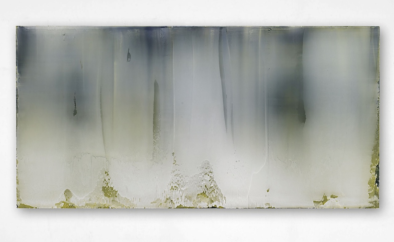 Untitled (White over Prussian and Italian Yellow), 2007  110x175cm  acrylic on anodized aluminum