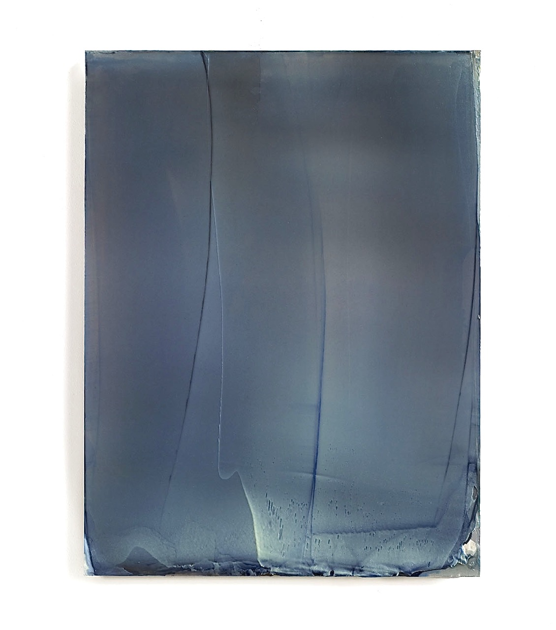 Untitled (Lead Yellow over Blue), 2010, 60x45cm, Kremer Pigments and Acrylic/Polyurethane on Aluminum Panel