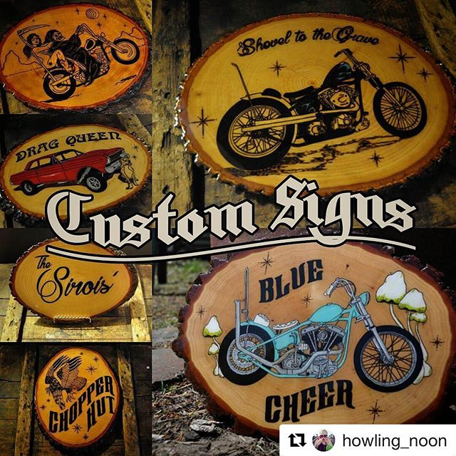 Check out our friend @howling_noon , and her awesome hand made signs !!!! Christmas is coming up quick ! #northeastmotosociety  @howling_noon with ・・・ ❄🔥🌲🔥❄If you were thinking of getting a custom sign from me for the holidays now is the time to act!! I burn each sign by hand so I can only take on a few more orders! Send me a DM here or email needham.lm@gmail.com 💛 Also if you see a sign I've made before that's not in my store that you would like just ask💛 #woodburnedart #pyrography #supporthandmade #motorcycleart #choppers #customsigns