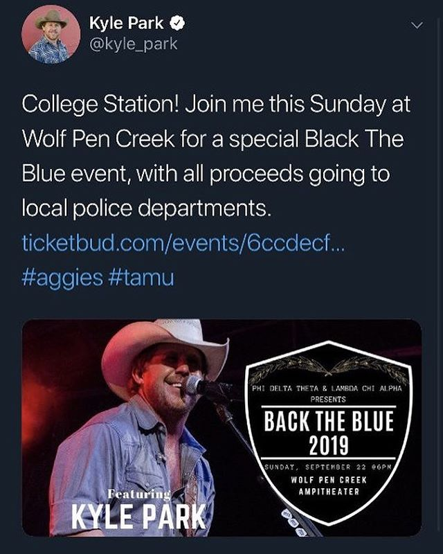 Tickets are Going Fast!  If You Like Good Music, A Good Crowd, and a Good Time Come See The One and Only @kylepark at Wolf Pen Creek Amphitheater This Sunday for Our Concert!  Link In The Bio