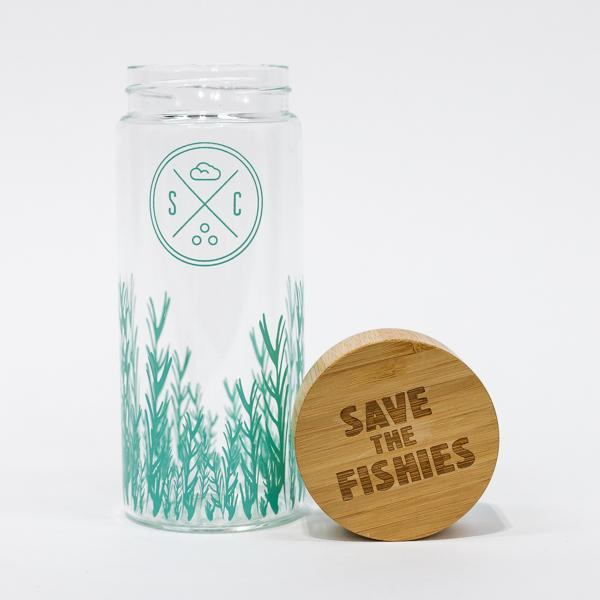 Glass water bottle that helps the ocean with every purchase. - $41.00