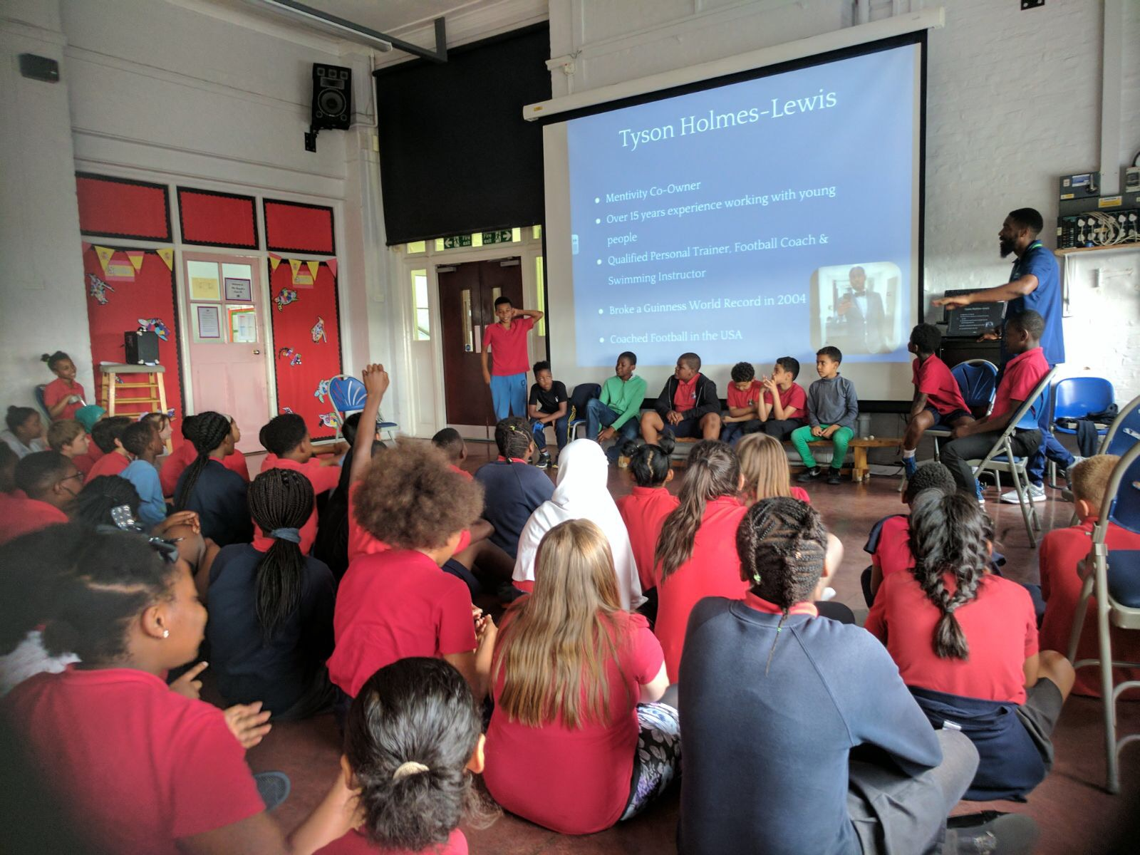 Tyson delivering his Conversation Based Learning Session around Perception, at Cobourg Primary School