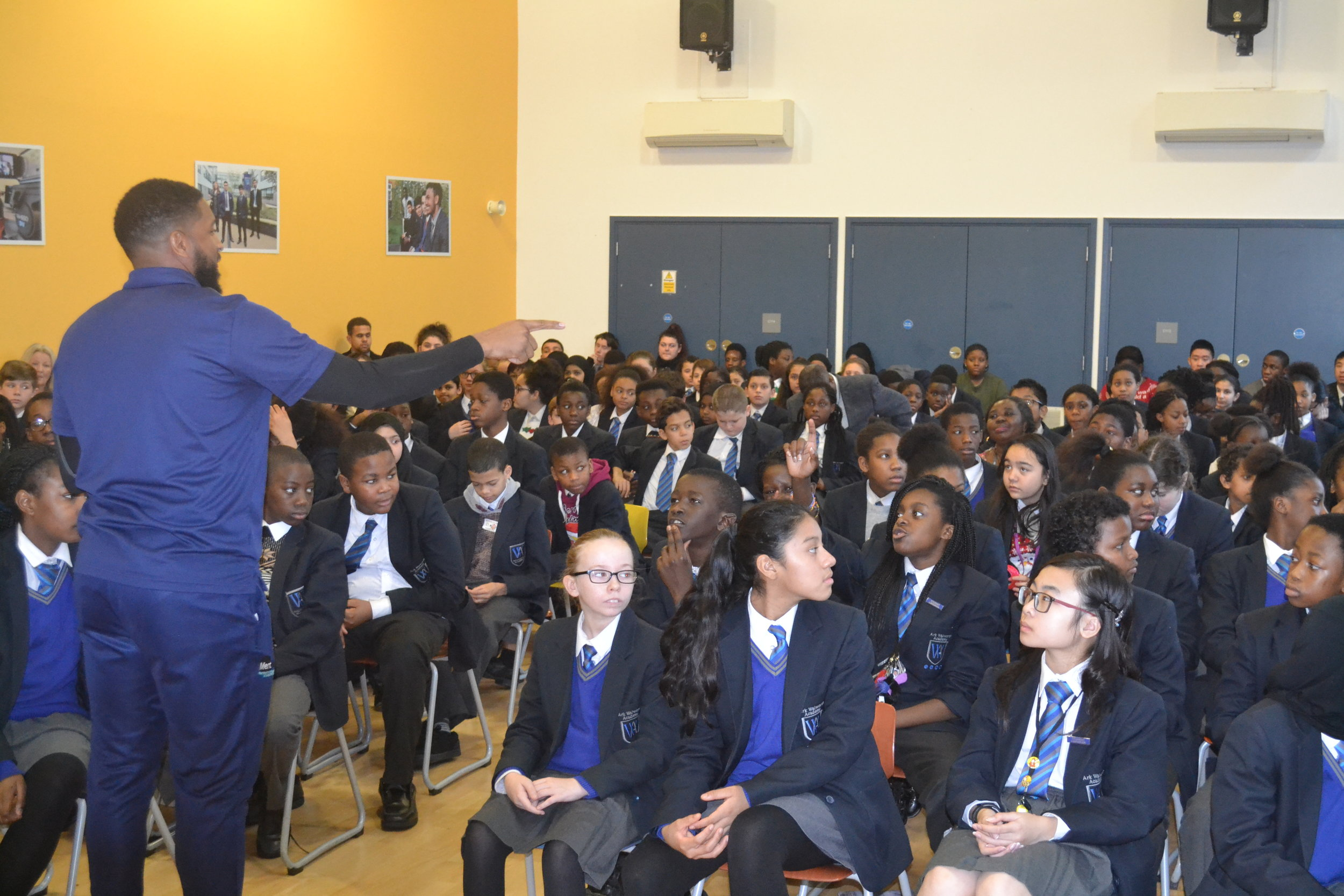 Sayce delivering his assembly for Ark Walworth Academy for their Deep Learning Day Activities
