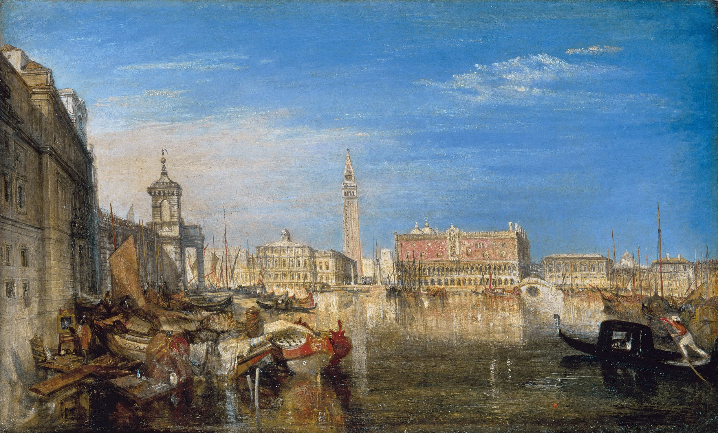 J.M.W. Turner,   Bridge of Sighs: Ducal Palace and Custom House, Venice: Canaletti  [sic] Painting,  by J.M.W. Turner. 1833. Oil on canvas 51.1 × 81.6 cm.    (Tate Britain, London).