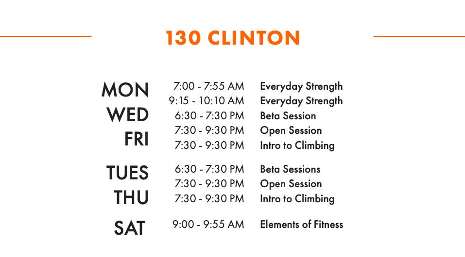 Clinton Adult W/S Schedule