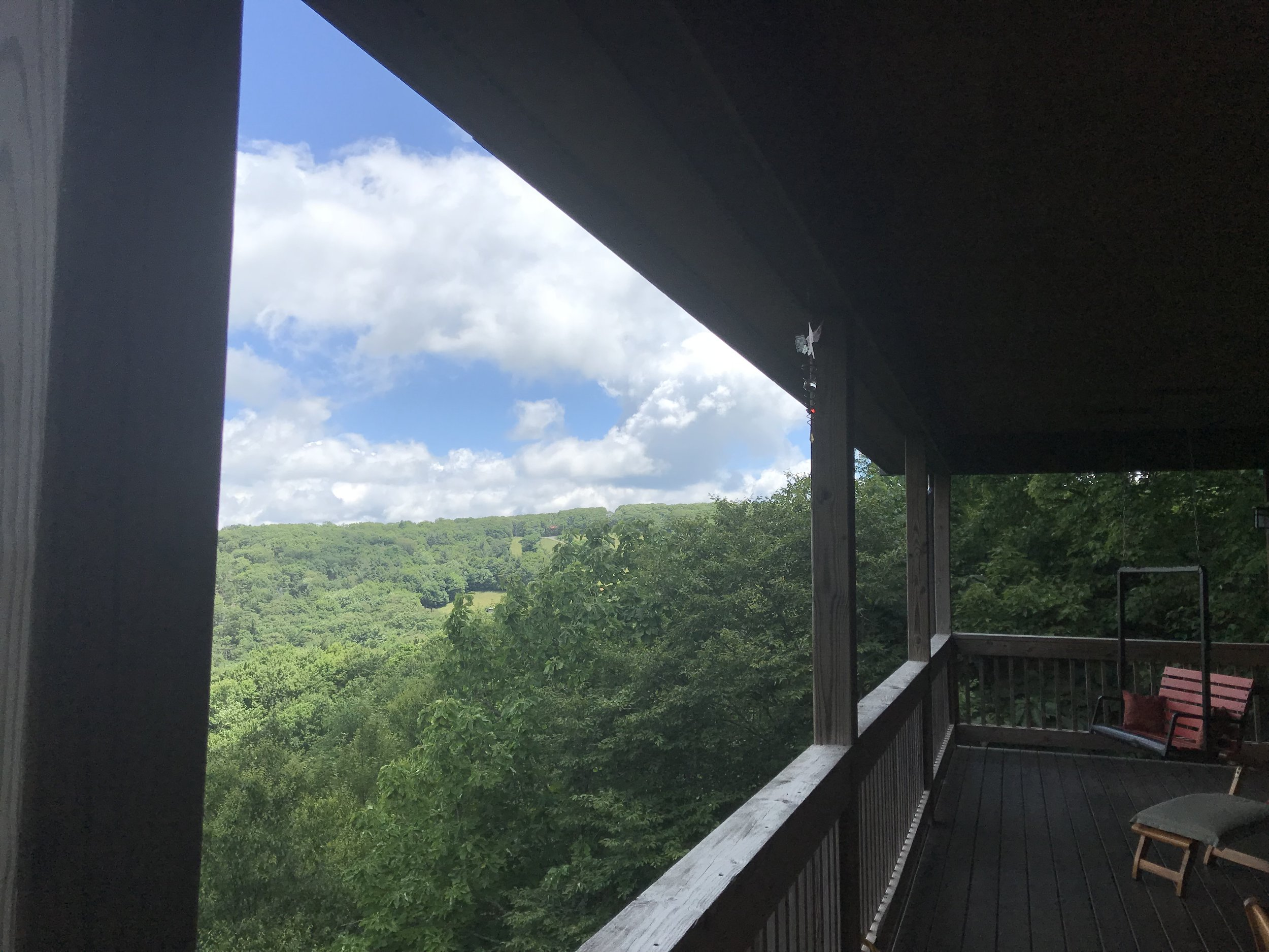 The stunning view from our guest stay on Beech Mountain