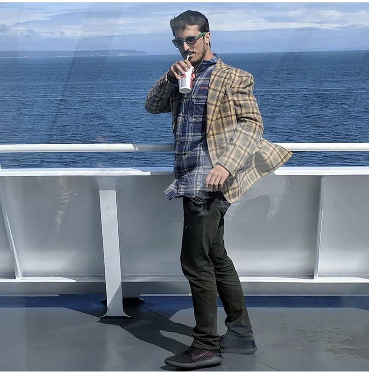 Al Kaseltza on a ferry to Vancouver Island, BC