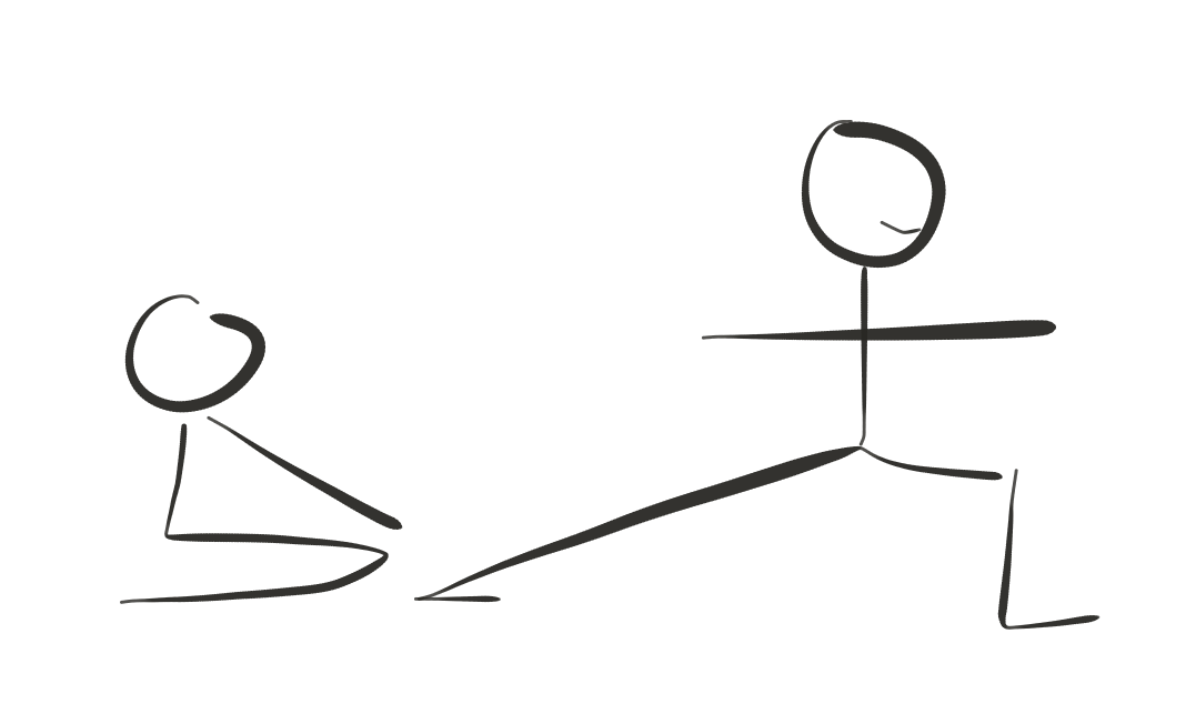 Yoga tuition - stick figure of David Ellard helping with warrior two