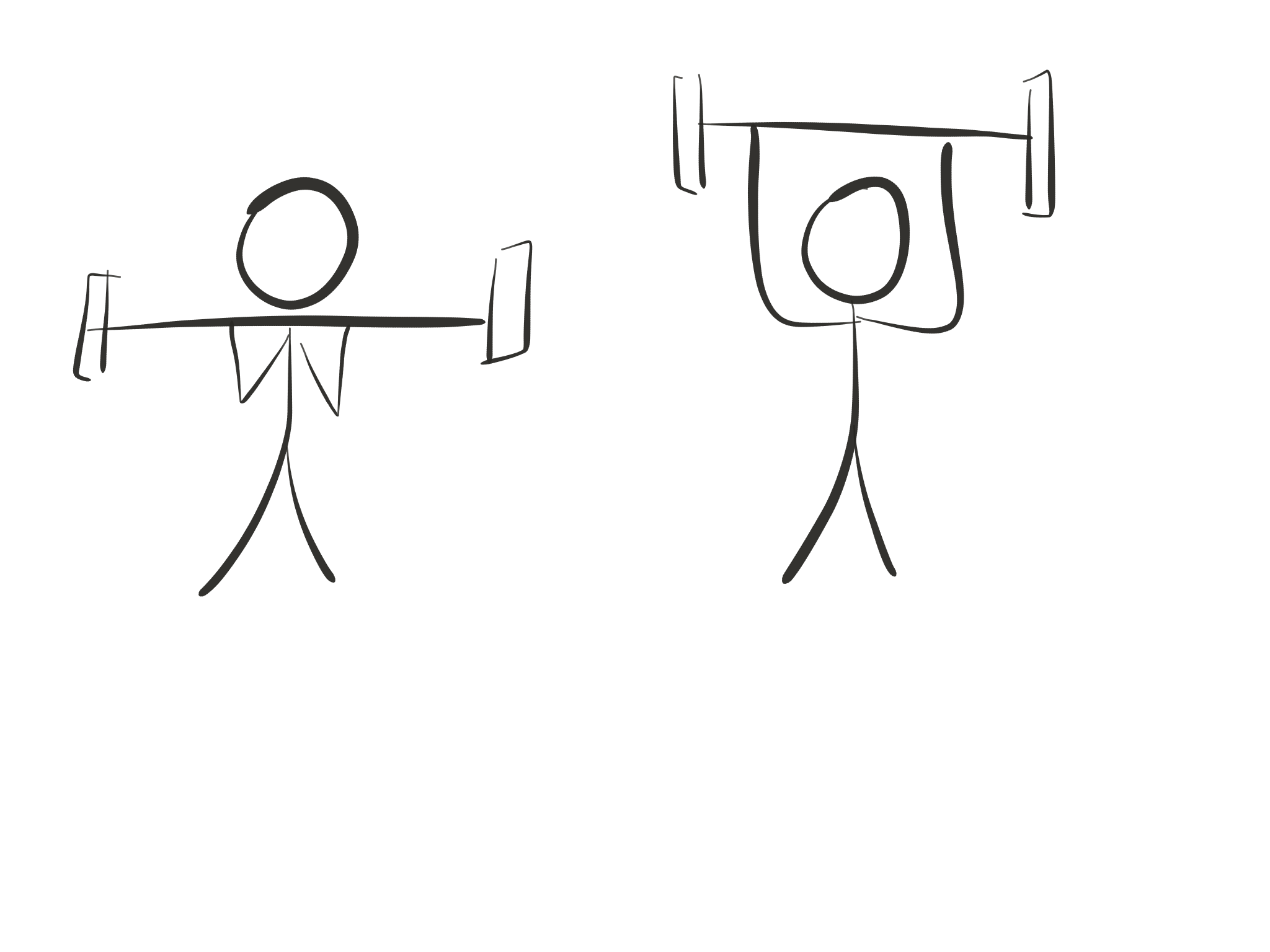 Stick figure diagram, shoulder press