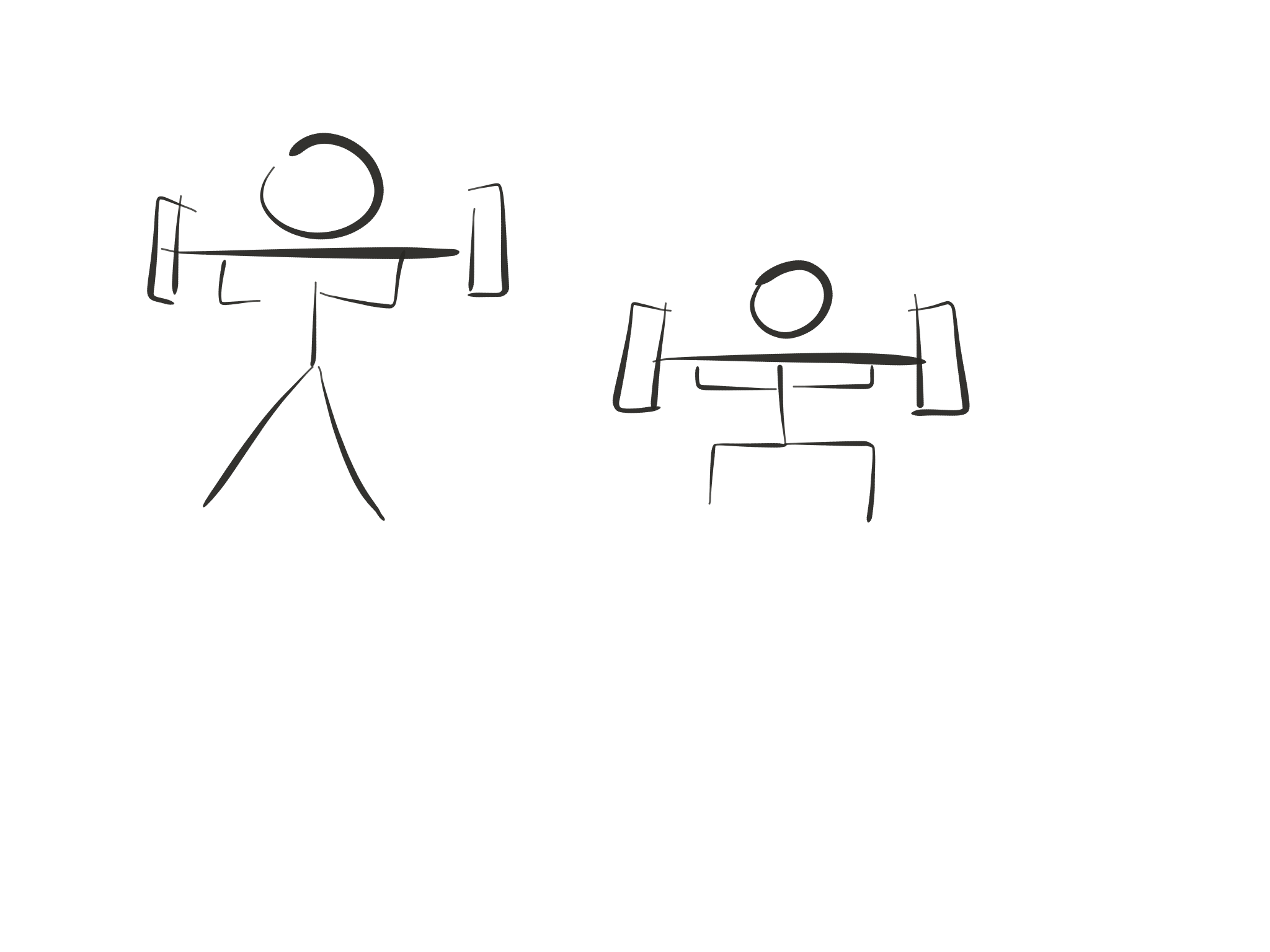 Stick figure diagram, barbell back squat