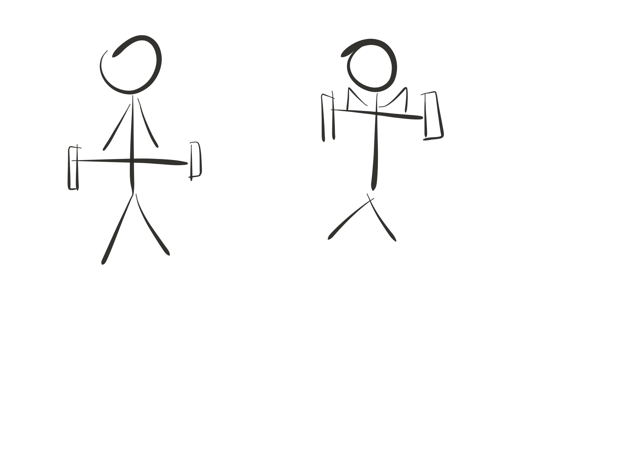 Stick figure diagram, upright row