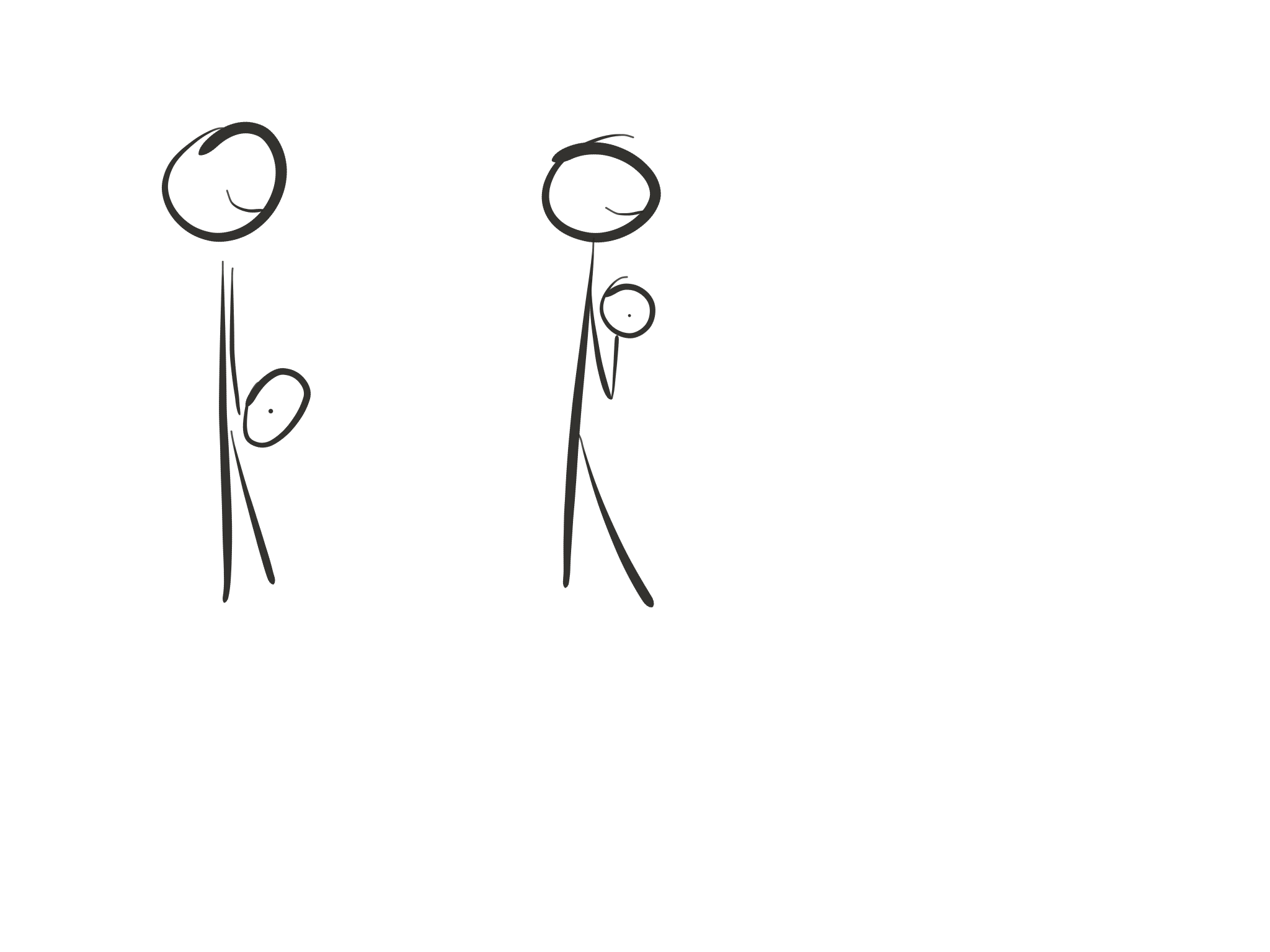 Stick figure diagram, barbell curl