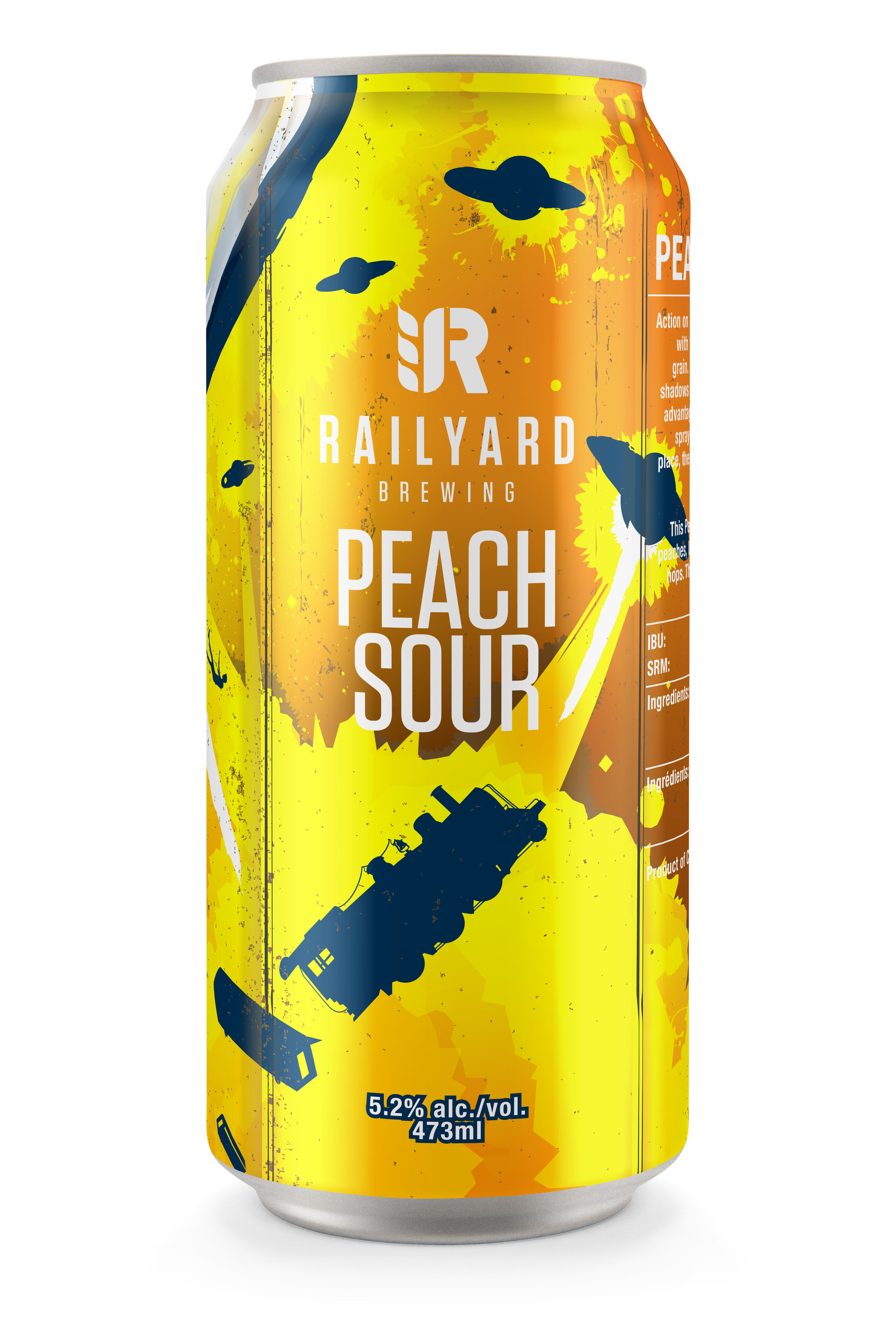 "RAILYARD PEACH SOUR   Back on the tracks, and we are headed straight for ""Flavour Town"". This Peach Sour is brewed for its sour, yet sweet presentation. Our kettle sour is made with oats and lactose to give it a crisp and tart flavour, then loaded with fresh peaches to give it a nice fruity and refreshing finish. This stop is sure to appeal to nearly every palate."