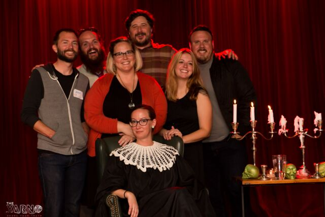 All the storytellers on the spooky stage with Hilary Trudell.