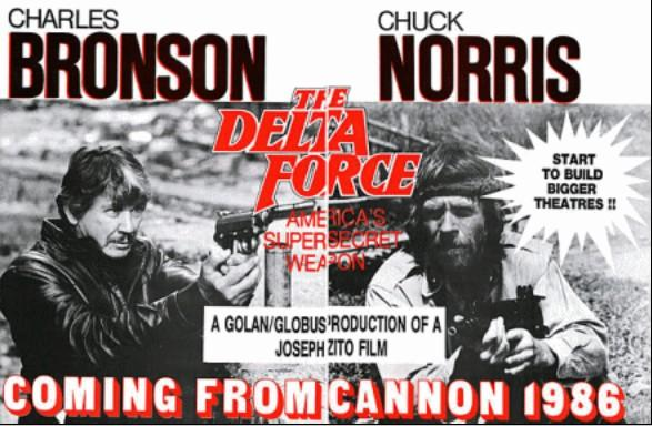 Fascinating glimpse at what might have been: poster for Delta Force when the two Chucks were lined up as stars