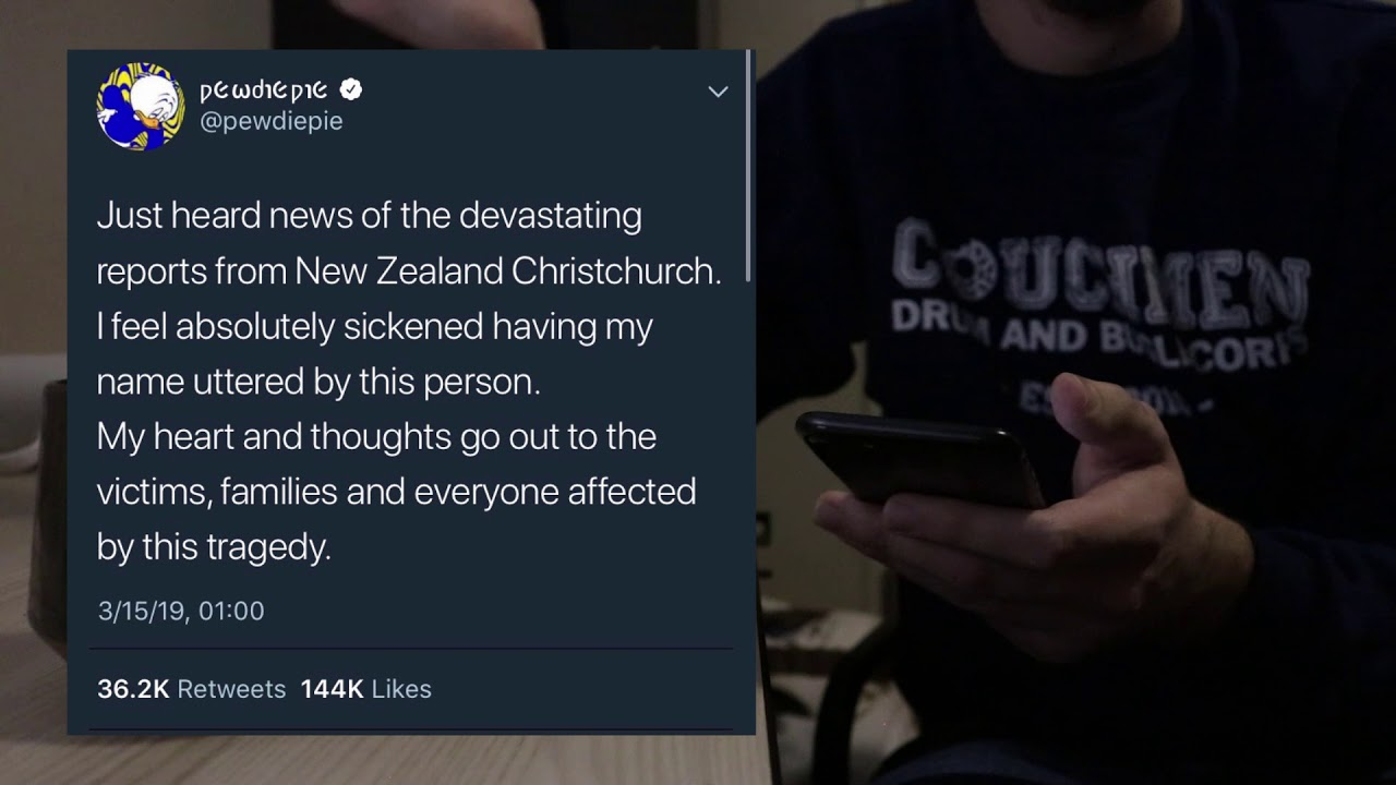 For the record, PewDiePie is not down with racist massacres.