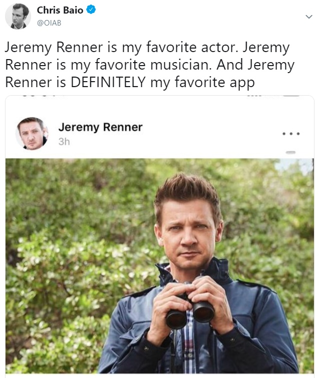 Peek-a-boo, Jeremy Renner sees you!