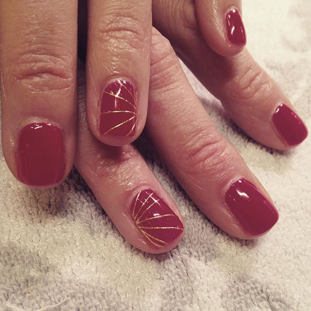 Gold Striping, Foil, Perfect Manicure, Red Nails, Red and Gold,