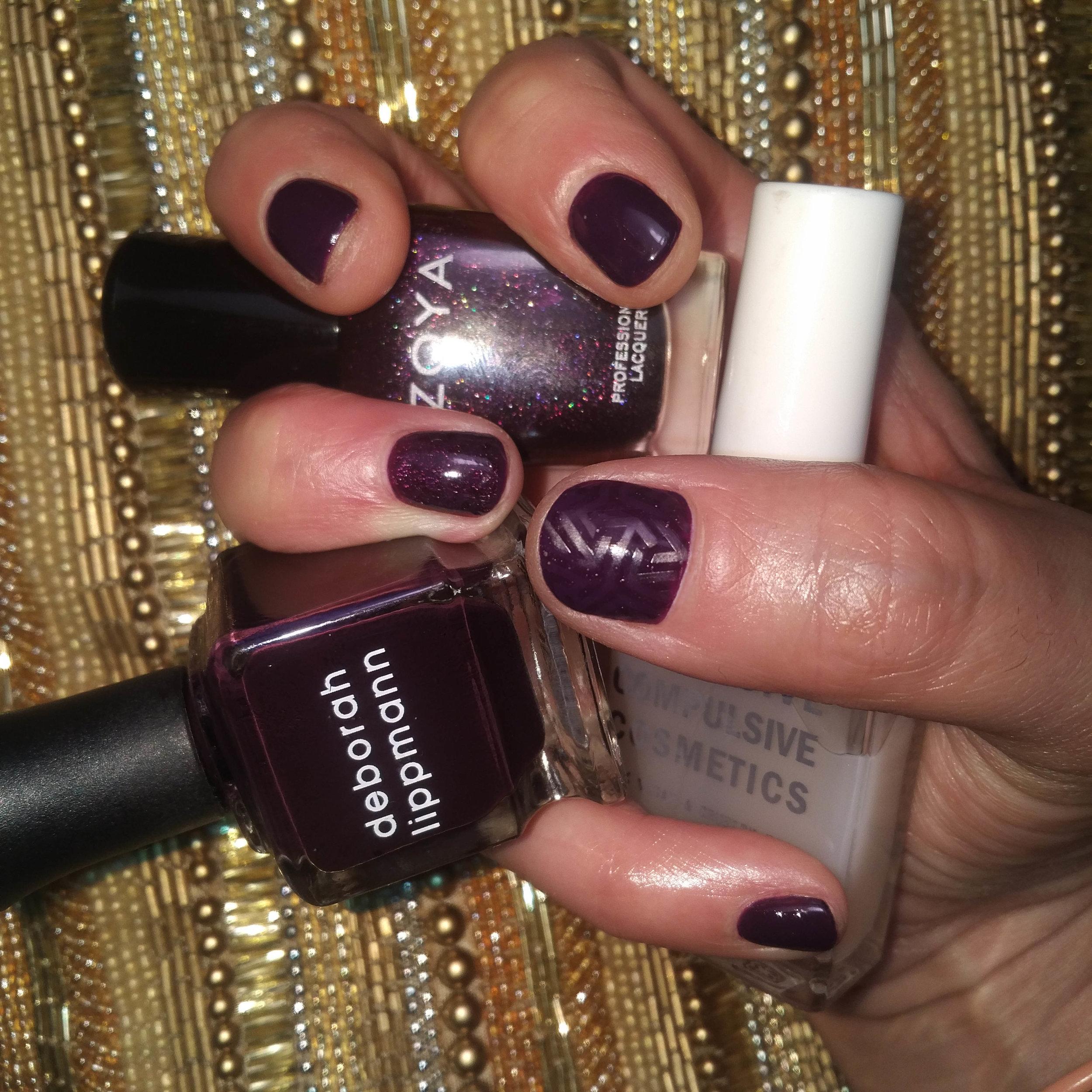 Stamping Nail Art Texture Matte OCC Zoya Deborah Lippmann Monochrome, Purple Nails, Goth Nails, Dark Nails, Vamp, Mani, Vamp Mani, Gel Nails,
