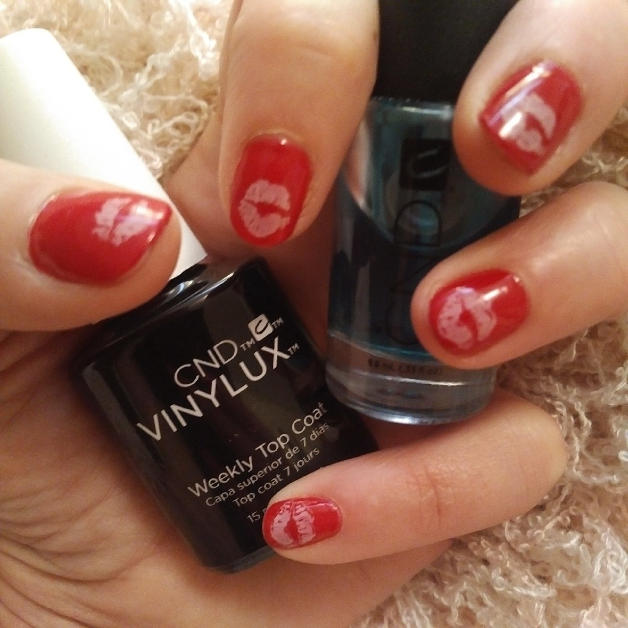 Valentines Mani, Love, Lips, Manicure, Stamping Nail Art, Kisses, Red and White, Valentine Nail Art, CND, Vinylux,