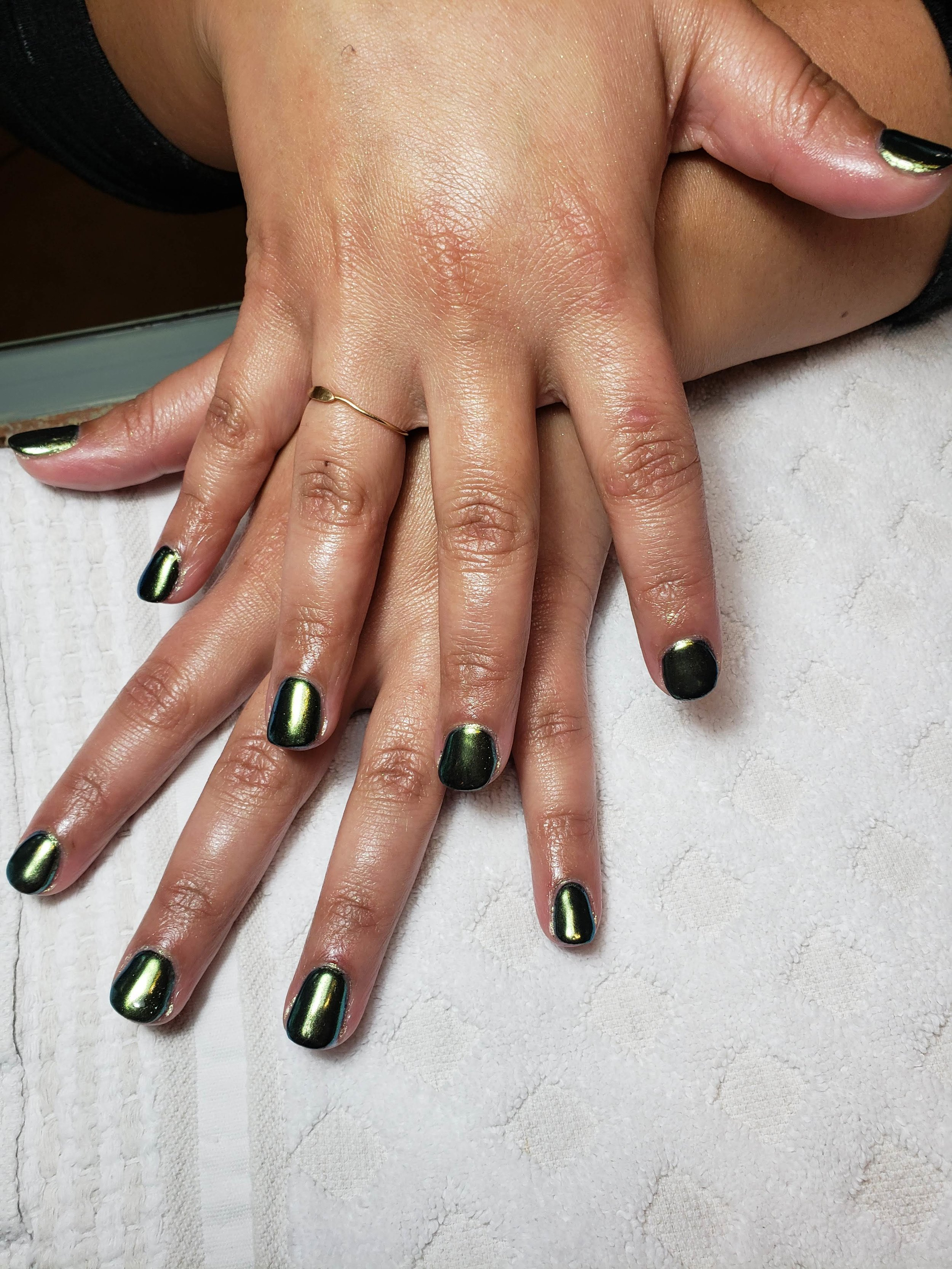 Chrome Nails, Green Mani, Green Manicures, Forest Green, Gel Nails, BioSculpture Gel, Bio Sculpture, Nail Art,