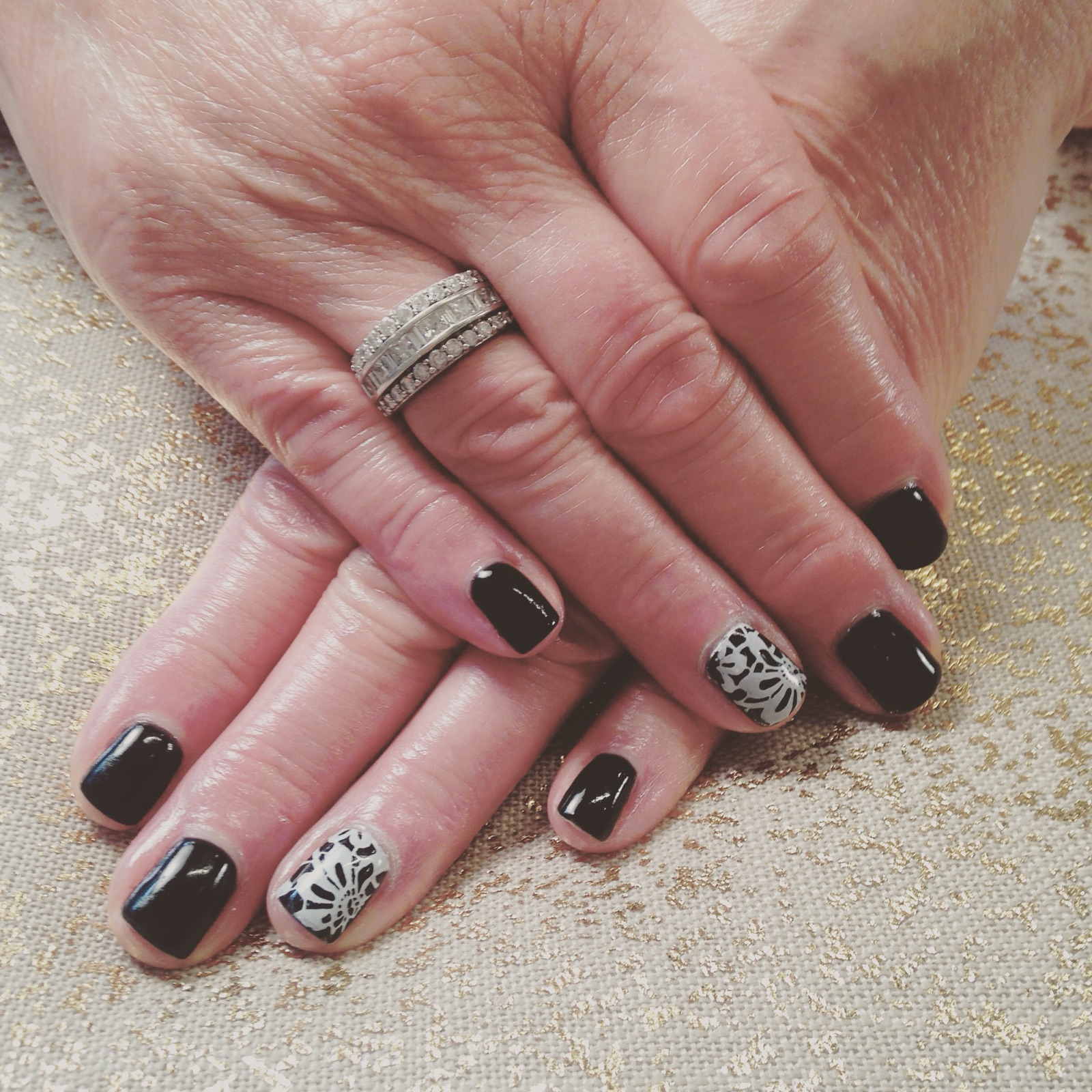 Goth Nails, Dark Nails, Vamp, Mani, Vamp Mani, Gel Nails, Black and White Nails, Black and White Mani, Stamping, Stamping Nail Art,