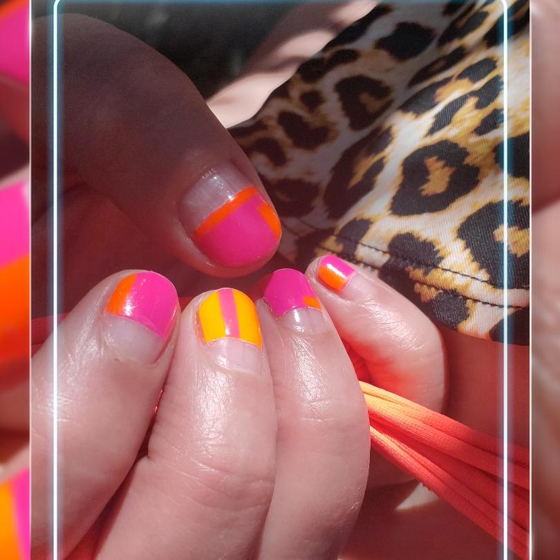 Negative Space Nail Art Neon Colorblock Dazzle Dry Obsessive Compulsive Cosmetics OCC