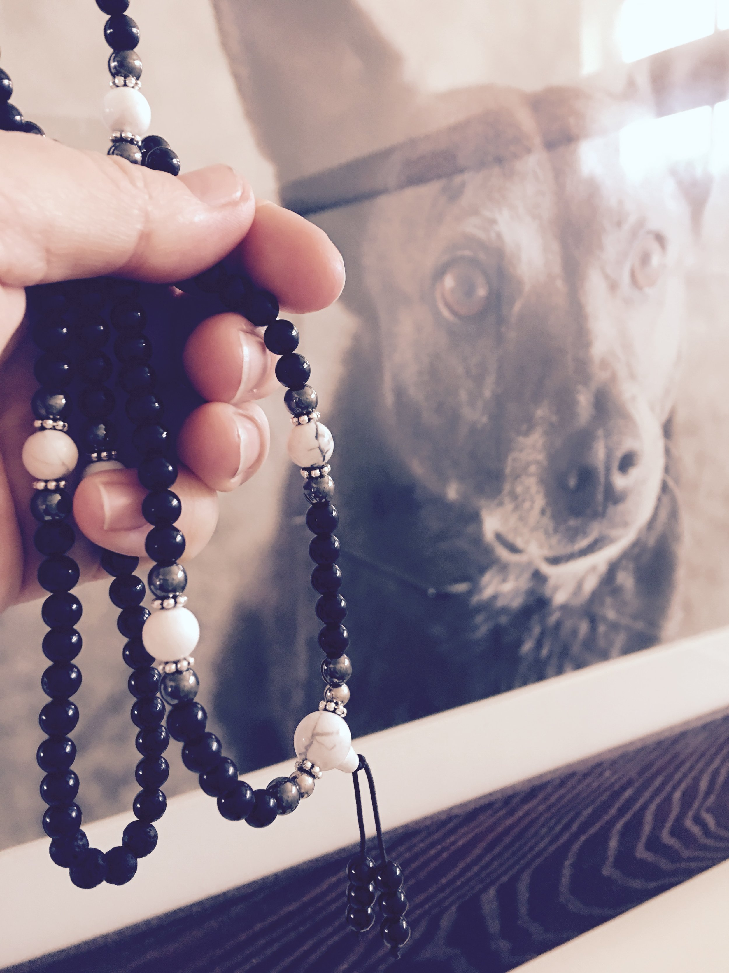 Mala Beads with Brody's portrait in the background