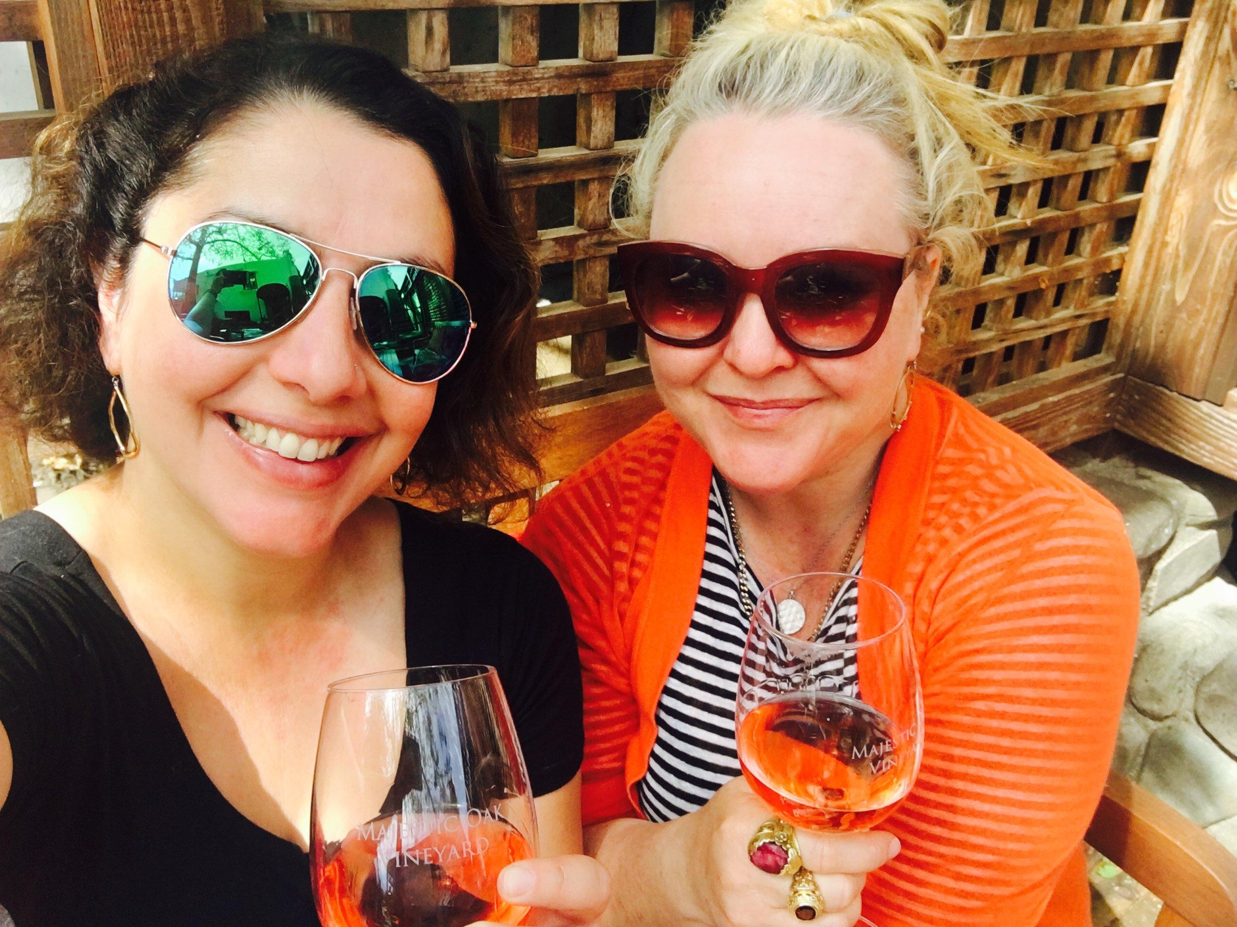 Marie and Julia wine tasting