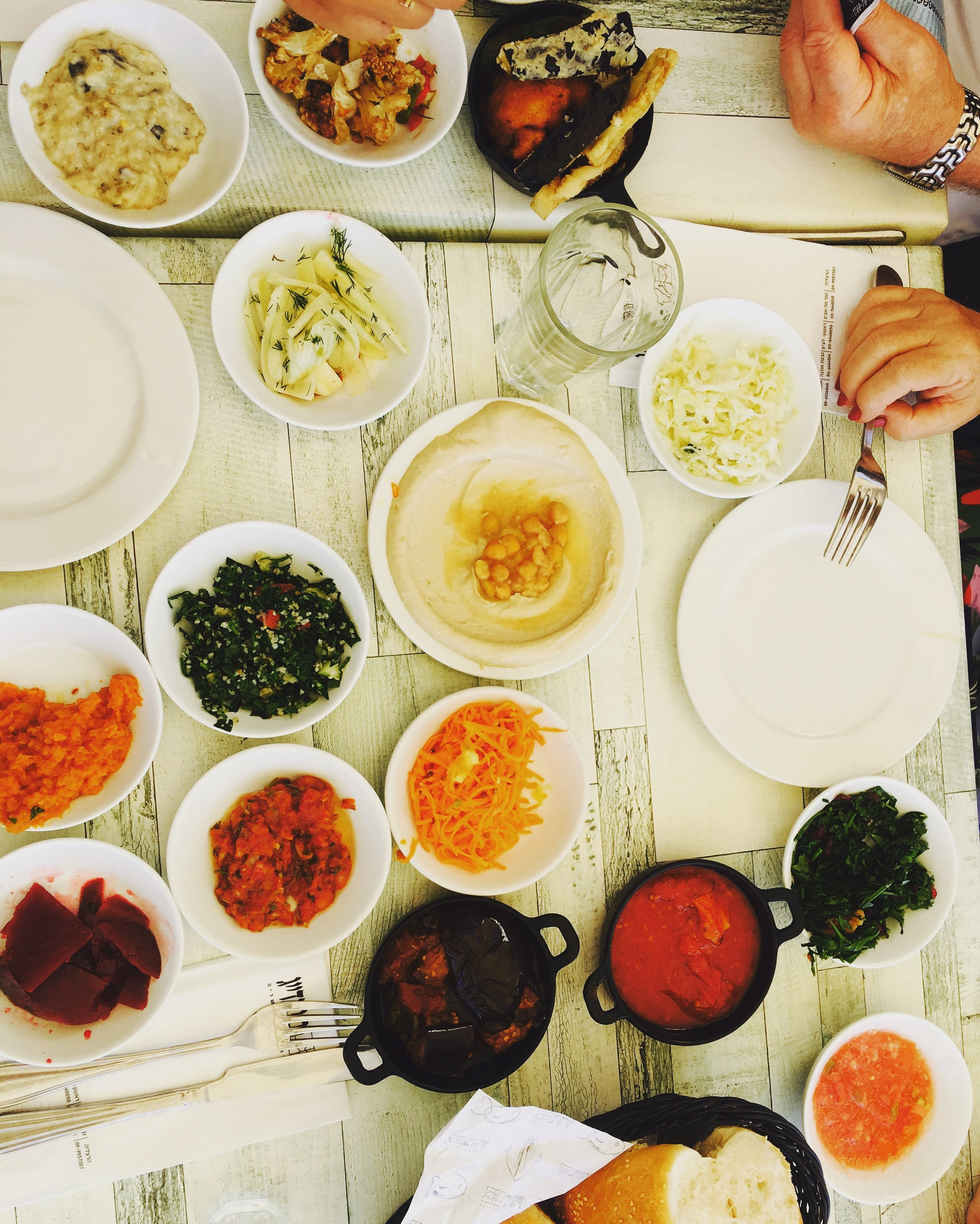 Israeli lunch with all the fixins