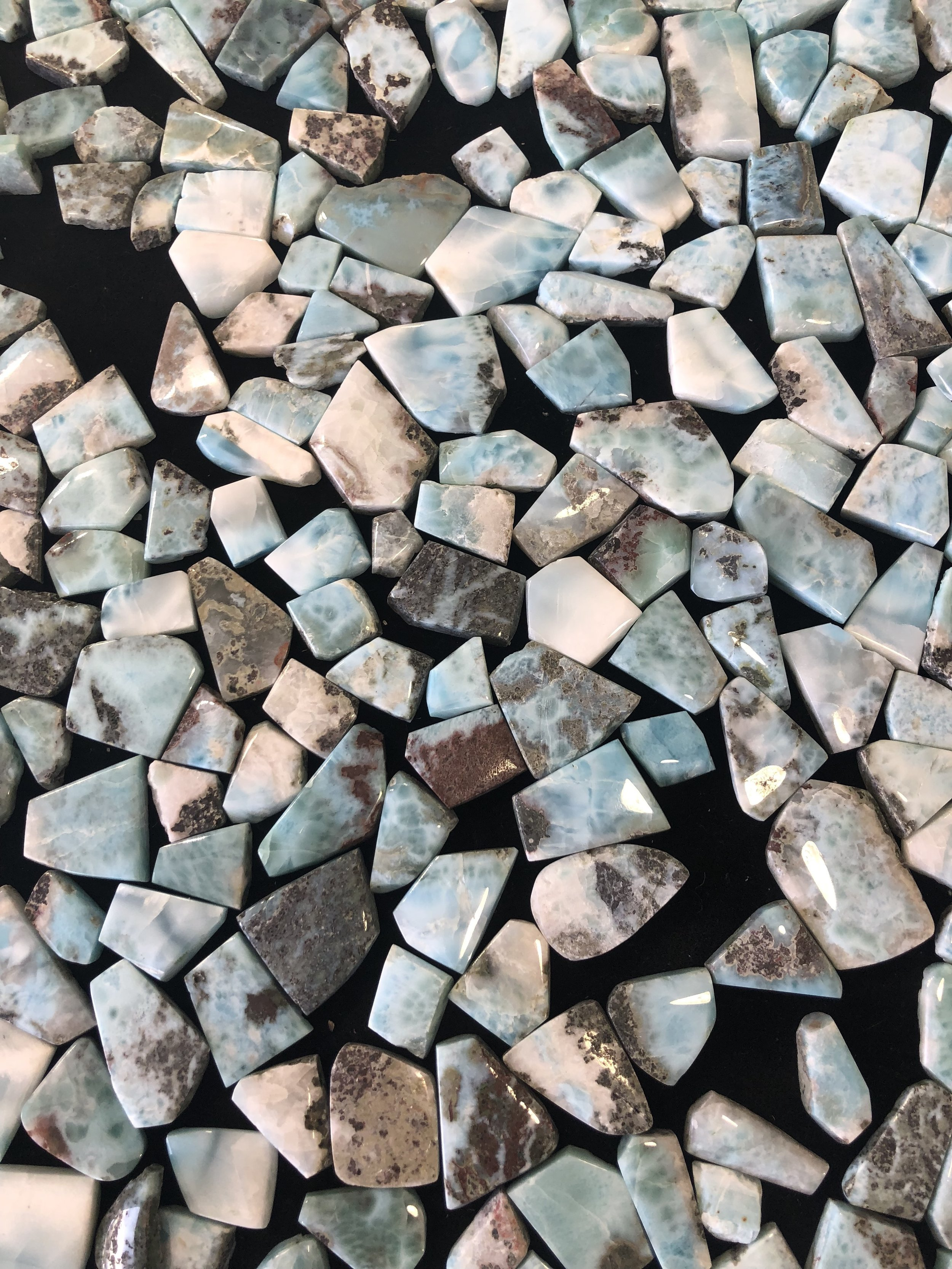 Tucson Gem show, larimar stones