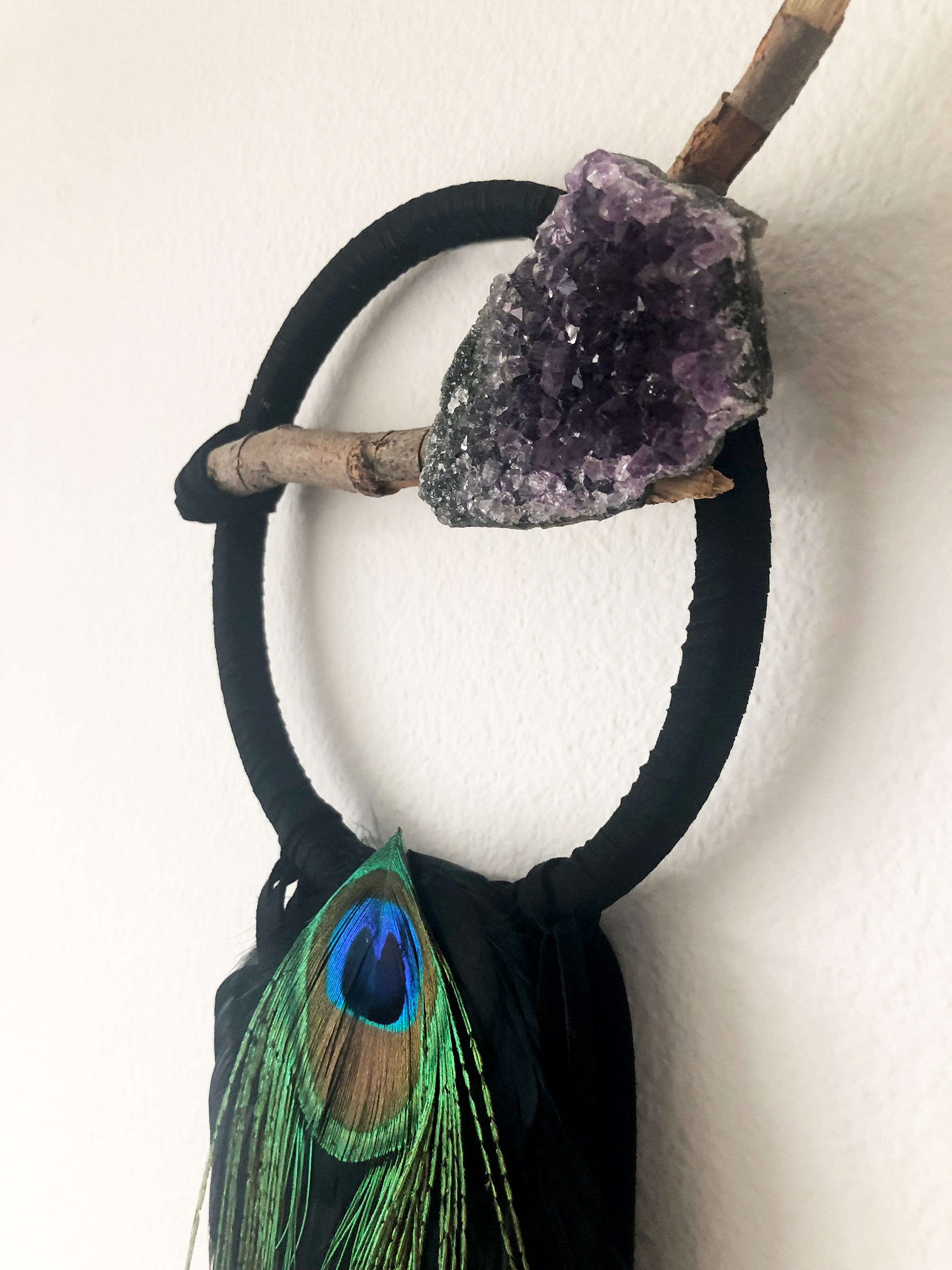 Custom made dreamcatcher with amethyst and peacock feather