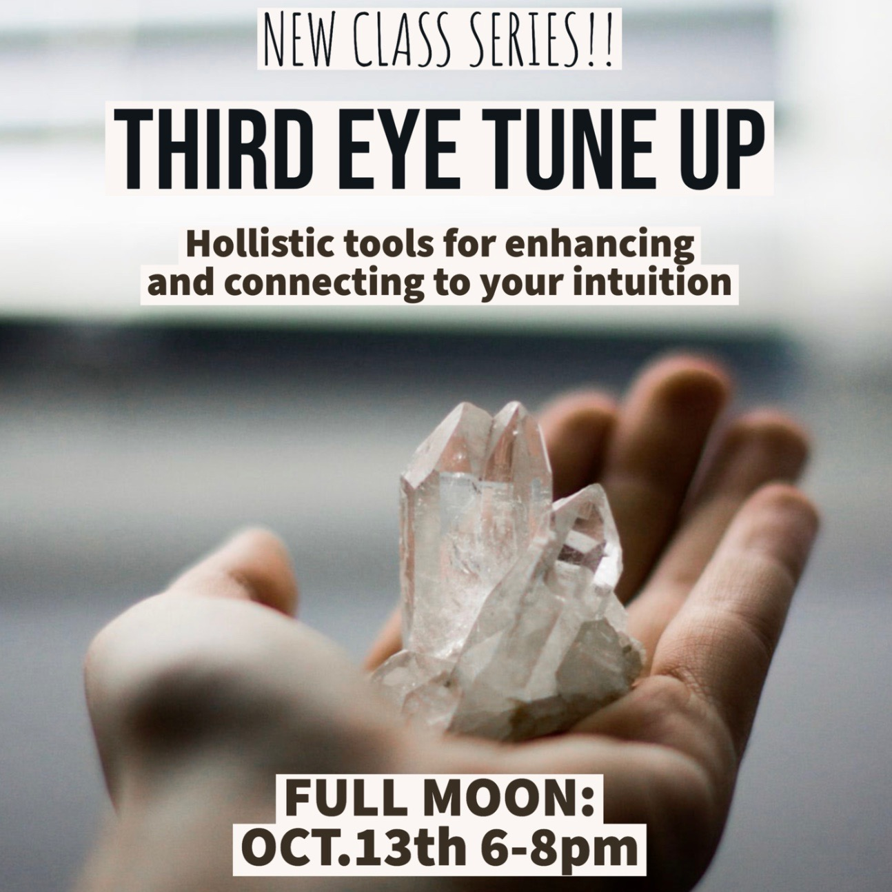 - Join Kristin of Senders Receive for a Full Moon 3rd Eye Tune-Up! An interactive workshop of mind-body-spirit practices to enhance the intuition, reconnect with your inner guidance and strengthen self-trust.Click here to register online.Call us at 512-963-2323 to register by phone.