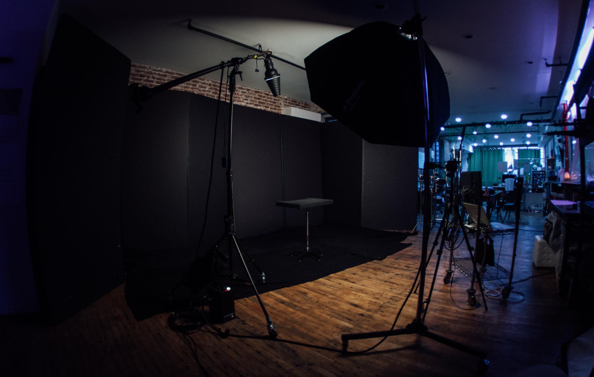 Black backdrop for interviews