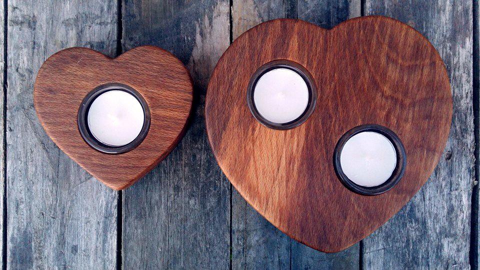 Sloyd Woodcraft handmade wooden tealight hearts